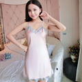 Ladis Faux Silk Satin Nightdress Sexy Nightgown Lace V-neck Sleepshirt Sleeveless Nighties Summer Sleep Dress For Women