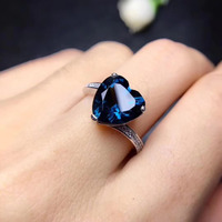 Fashion Romantic heart Natural London blue topaz gem Ring S925 Silver Natural Gemstone Ring Women's party fine gift Ring Jewelry