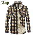 AFS JEEP 2016 nuevo invierno camisa de los hombres, cómodo camisa caliente camisa a cuadros de manga larga de los hombres 2 colores 85