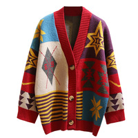 Colorful Star Geometry Print Knitted Cardigan Women Casual Single Breasted Jumper 2019 Autumn Winter Oversize Sweater Tops Femme