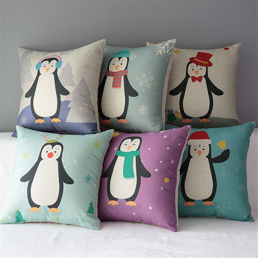 18 Square Animal Cartoon Penguin Cotton Linen Cushion Sofa Decorative Throw Pillow Seat Chair Car Home Decor