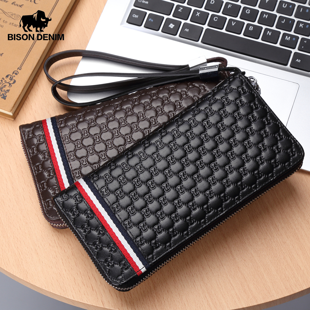 BISON DENIM Fashion Cowhide Leather Long Wallet Male Zipper Clutch Men's Wallet Phone Holder Long Coin Purse N8198-1