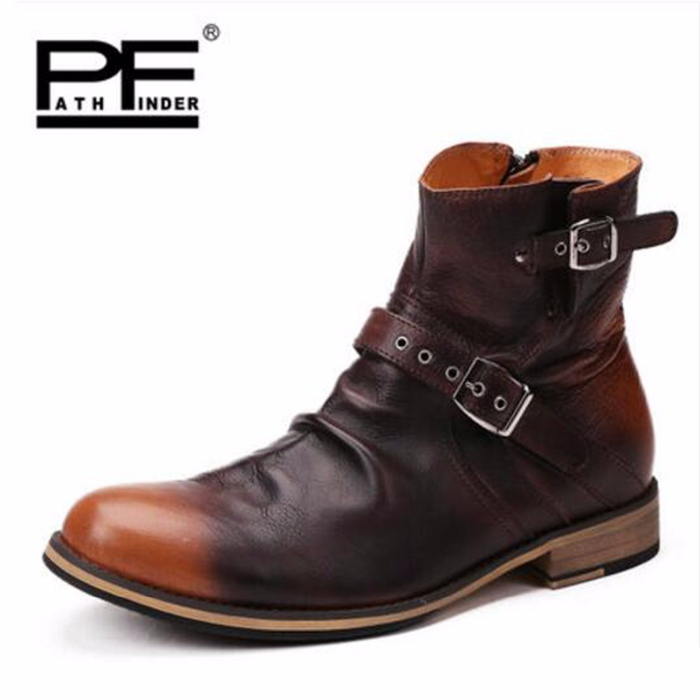 Pathfind men boots chelsea boots Martin man Tooling military Genuine Leather casual shoes Brown black British men's boots boty pathfind luxury brand leather ankle snow boots europe style motorcycle martin tooling military boots men outdoor casual shoes