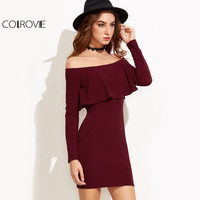 COLROVE Long Sleeve Dress Womens Clothing Winter Dresses Women Sexy Dresses Burgundy Off The Shoulder Ruffle