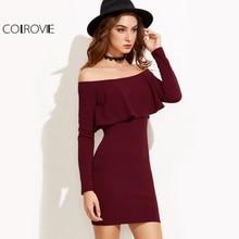 Colrovie мини-платье с длинным рукавом Для женщин S Платья.Осень-зима Для женщин пикантные вечерние бордовый с открытыми плечами рюшами Bodycon платье