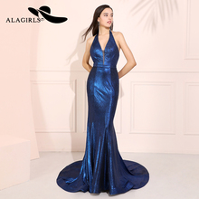 Alagirls Sexy Mermaid Sequins Prom Dress Navy Halter Backless Evening Vestido de fiesta Formal Party Robes bal
