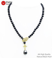 Qingmos Natural AA Black Pearl Necklace for Women with Drop Shell Pearl Pendant Necklace & Gold Four Leaf Zircon Clasp Jewelry