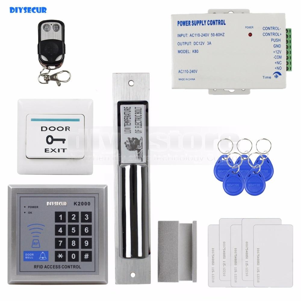 DIYSECUR 125KHz RFID Access Control DIY Full Kit Set With Electric Drop Bolt Lock +5 ID Cards 5 Keyfobs