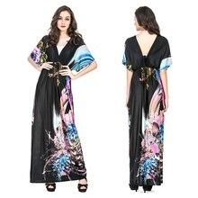 2018 Women Summer Long Maxi Dress Batwing Sleeve V Neck Sexy Open Back Dress Printed Floral