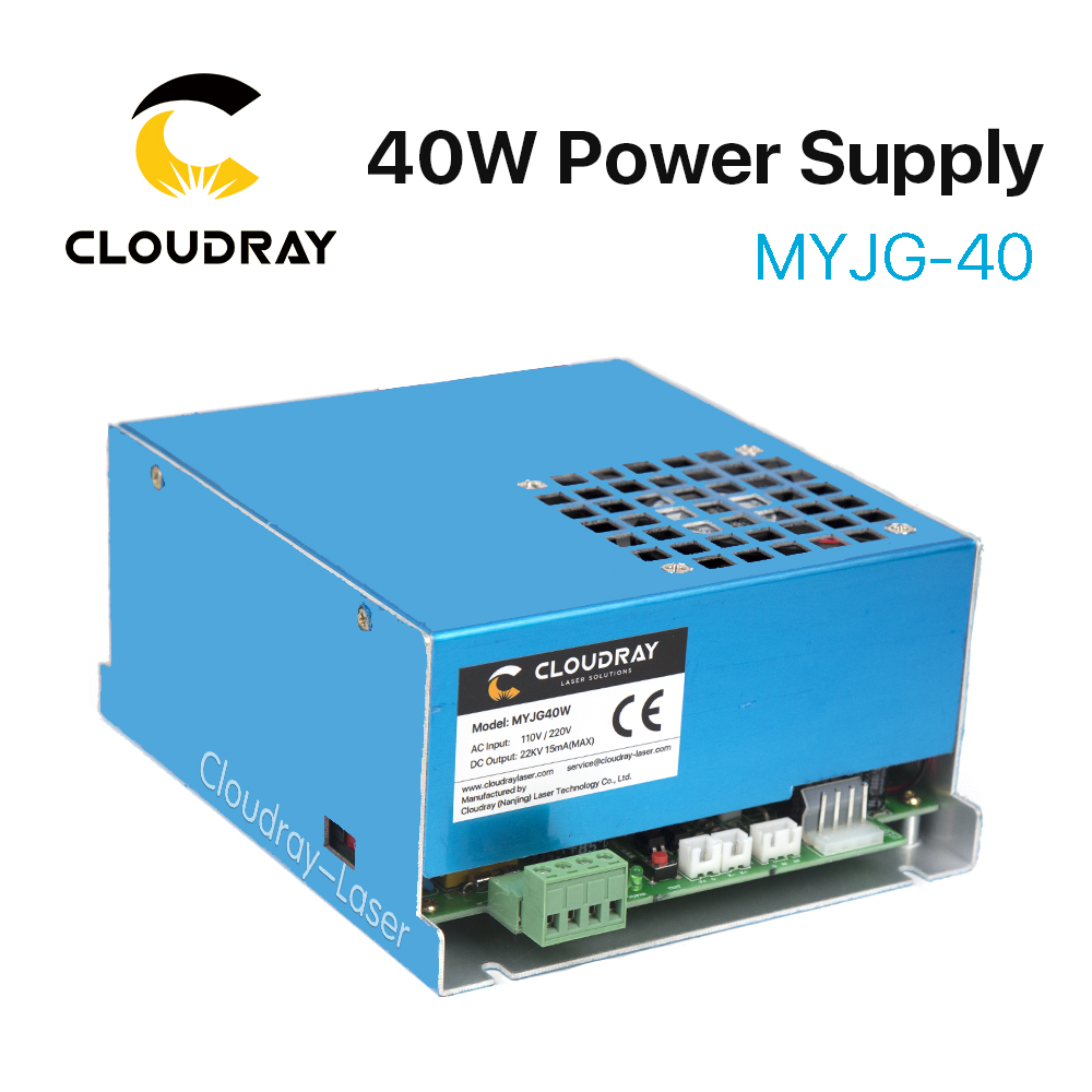 Cloudray 40W CO2 Laser Power Supply MYJG-40 110V 220V for CO2 Laser Engraving Cutting Machine 35-50W myjg 40 220v 110v 40w co2 laser power supply psu equipment for co2 laser engraver engraving cutting machine shenhui k40