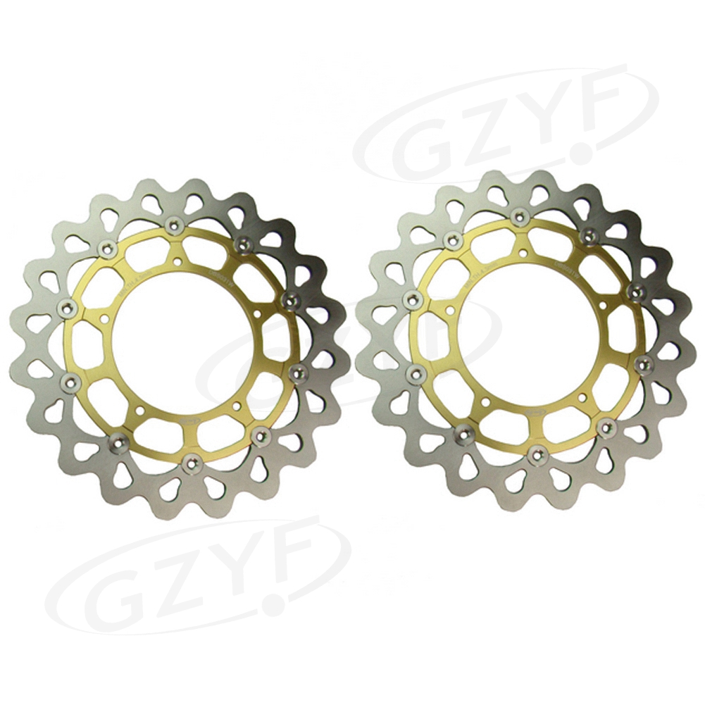 Motorcycle Front Brake Disc Rotors for Yamaha FZ1 / FZ1 FAZER / FZ1 FAZER ABS / YZF R1/ R1M / V MAX Vmax Gold 2PCS keoghs real adelin 260mm floating brake disc high quality for yamaha scooter cygnus modify