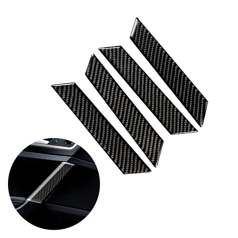 For VW Golf 7 MK7 VII 2013 2014 2015 2016 2019 4pcs Carbon Fiber Car Interior Window Door Panel Cover Strip
