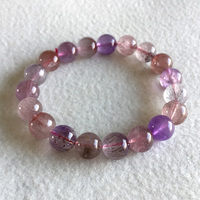 Natural Genuine Purple Hair Crystal Multi Colors Mix Super 7 Seven Bracelet Round Melody Stone 10mm