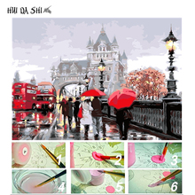 DIY Painting By Numbers London Red Bus Romantic Street Modern Wall Art Canvas Hand Painted Oil on Home Decor