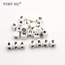26pc bebê mordedor grânulos silicone dentição brinquedos bpa livre grânulo de silicone para diy bebê dentição colar alfabeto inglês carta
