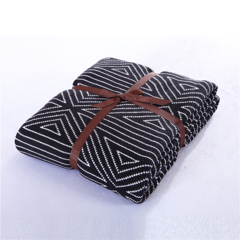 Cozzy Geometric 100% Cotton Knit Throw Sofa Couch 130x160cm Black White Home Bed Knitted Blanket Cover 150x200cm Airplane Tippet  цены