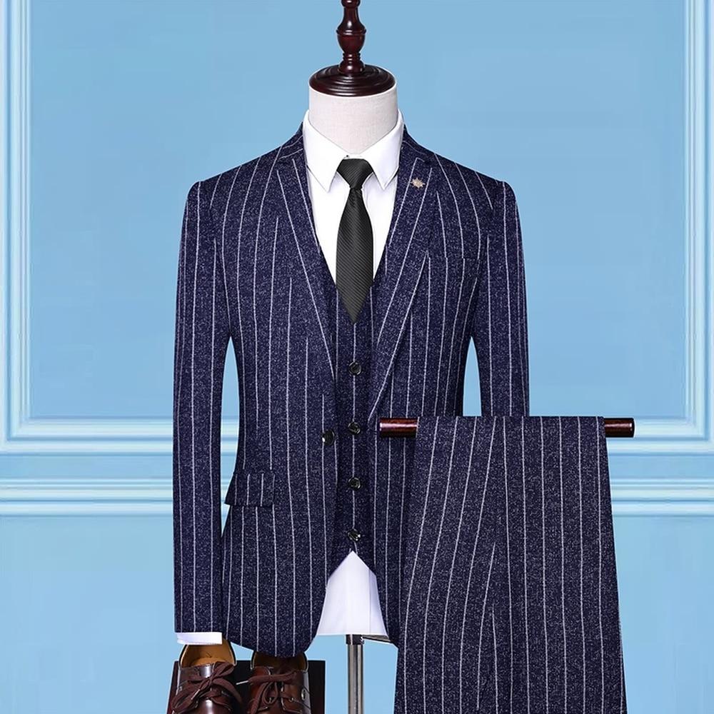 Erkek Kıyafeti'ten T. Elbise'de 3 adet Set Erkek Takım Elbise şerit Slim Fit Düğün Takımları Damat Smokin Resmi Iş gündelik Iş Elbisesi Takım Elbise (Blazer + pantolon + Yelek)'da  Grup 2