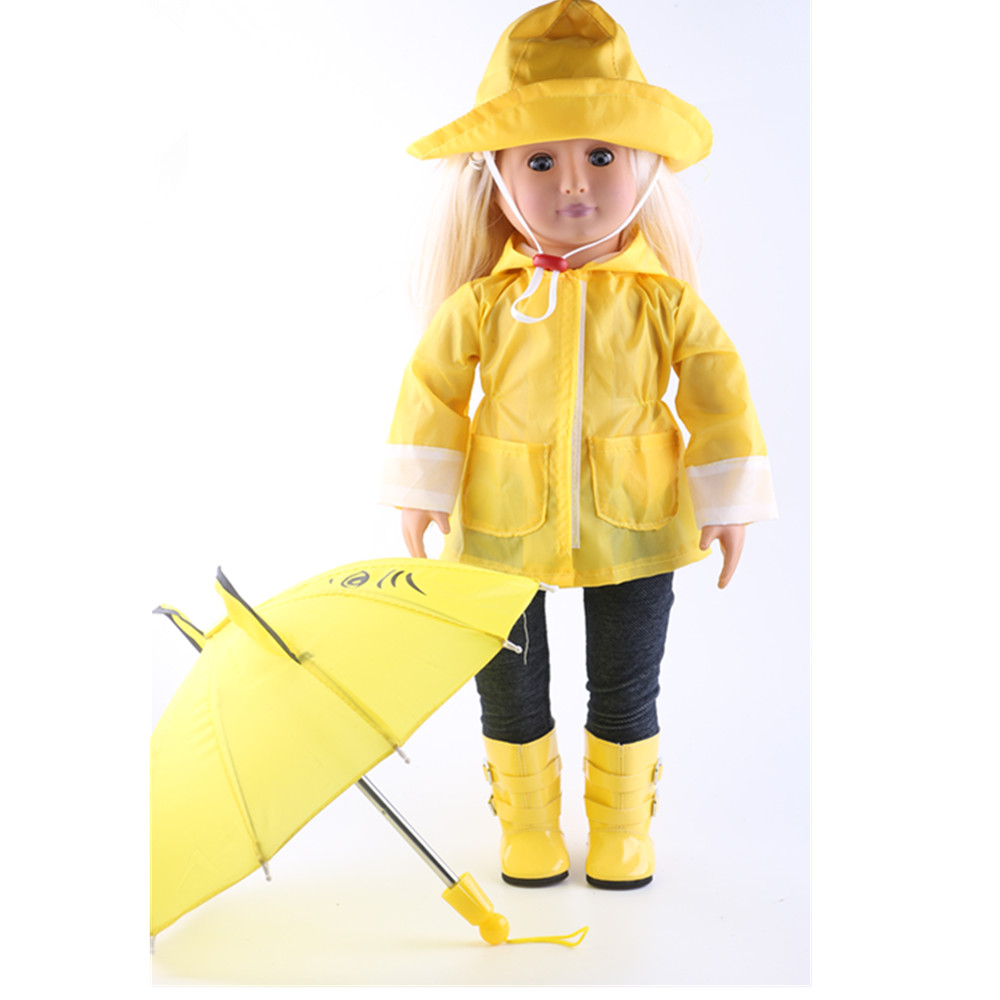 Doll Clothes for American Girl Dolls yellow Rain Outfit - Includes Rain Jacket, Hat and Pants american girl doll clothes for 18 inch dolls beautiful toy dresses outfit set fashion dolls clothes doll accessories