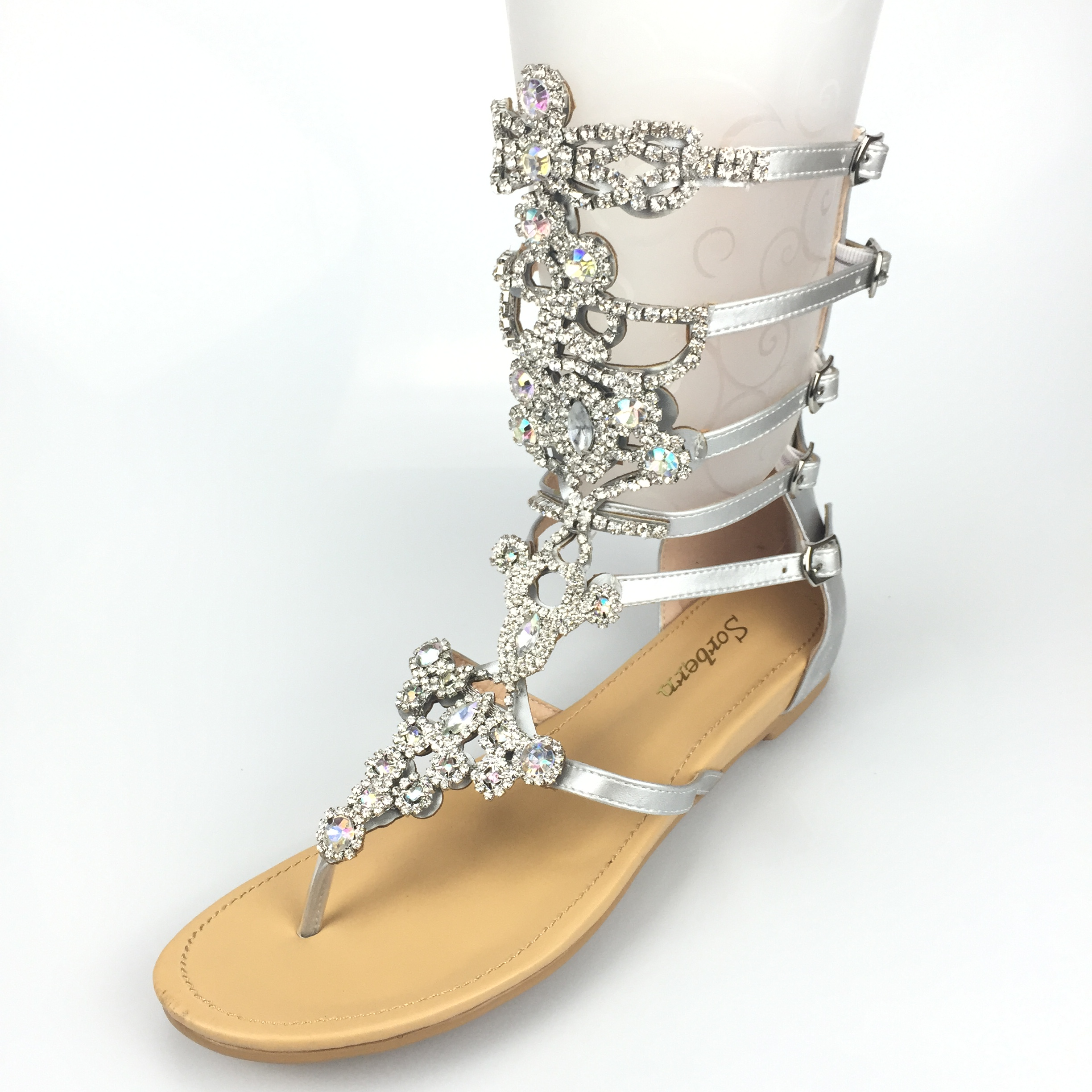 af8d15bf40399 Sorbern Silver Rhinestones Gladiator Sandals Women Flat Heels Real Photos Bling  Bling Women Shoes Runway Rhinestone Sandals 2018-in Women s Sandals from ...