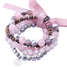 MetJakt Natural Gemstone Mix Rose Quartz,Gray Pearl,Rhodonite,Five Handmade Elastic Bracelet with Double Happiness Charm 18-19cm