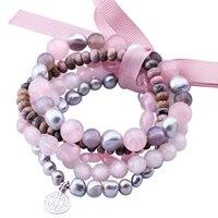MetJakt Naturalny Kamień Mix Kwarc różowy, Szary Pearl, Rhodonite, Pięć Handmade Elastic Bransoletka z Podwójne Szczęście Urok 18-19 cm