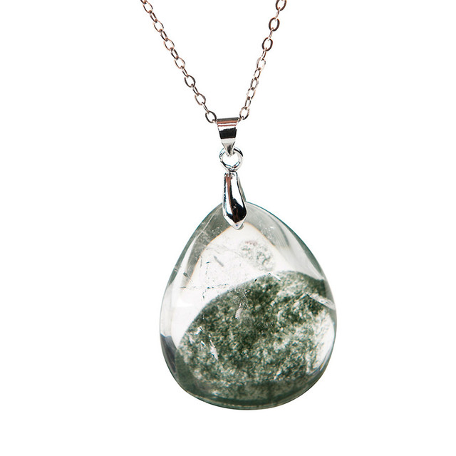 Fashion Women Necklace Charm Pendant Suspension Transparent Natural Green Phantom Quartz Healing Crystal Waterdrop Bead Pendant