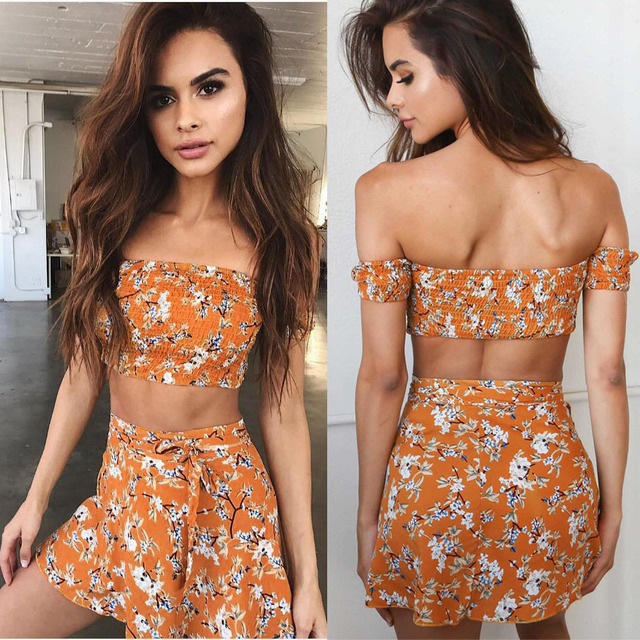 4944f763c8 2 Piece Set Women Summer Beach Wear Outfit Floral Print Short Sleeve  Strapless Crop Top and Skirt Sets Women Suits Tracksuits