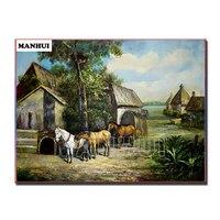 Full Square Diamond 5D DIY Diamond Painting Three Horses Embroidery Cross Stitch Rhinestone Mosaic Painting Home