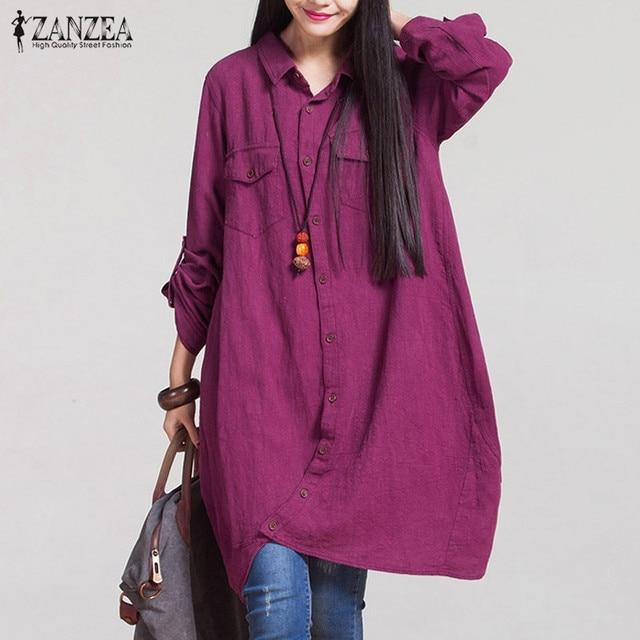 ZANZEA Women 2018 Autumn Vintage Lapel Cotton Long Shirts Casual Loose Full Sleeve Irregular Blouses Tops Plus Size Blusas