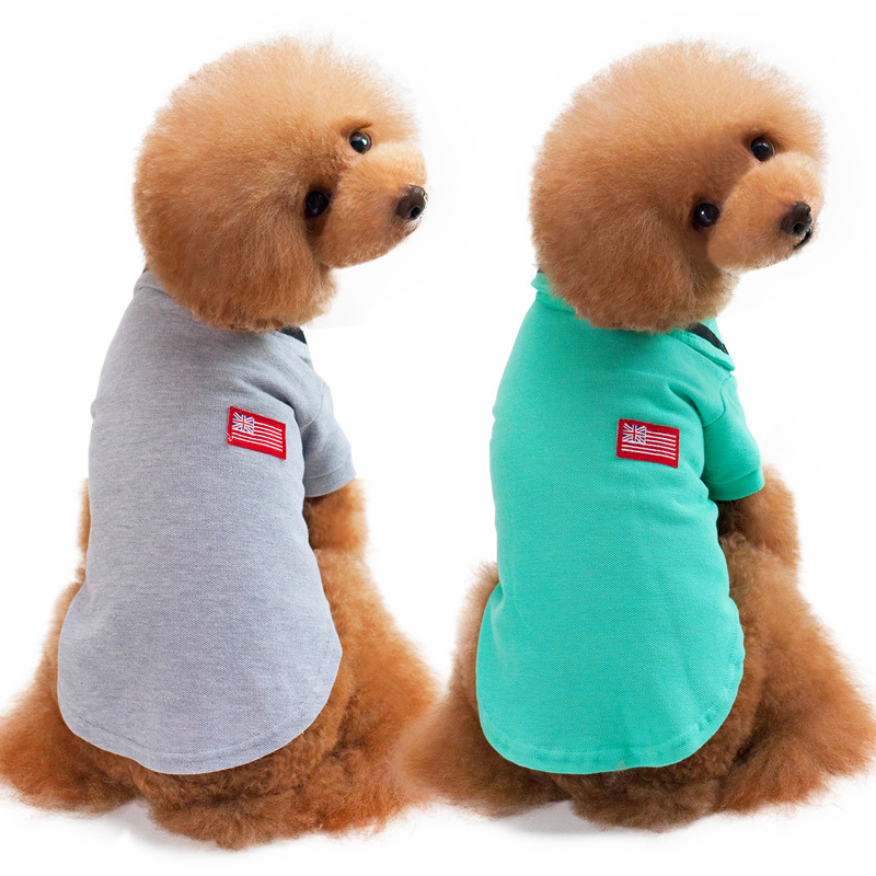 Pet Clothes Dog Solid color Polo Shirt Apparel Lapel Costume Dog Clothes T-shirt Casual Puppy Suit Cotton Clothes Shirt