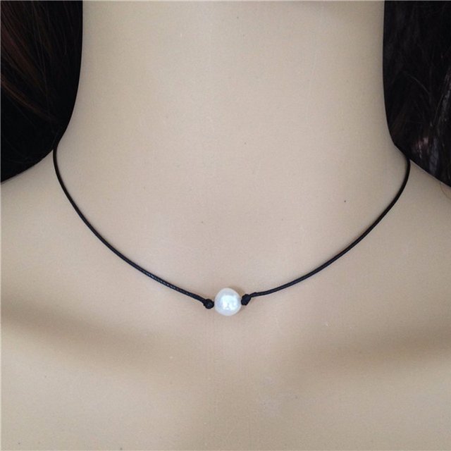 e803fba38ba7f2 Black Leather with Pearl Choker Floating Cultured Freshwater Pearl Necklace  Single Pearl Leather Collar Necklace Bridal Jewelry