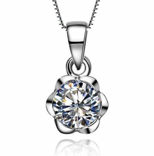 1  Carat  Rose Flower Shape Real SONA Synthetic Diamonds Engagement Pendant Necklace with Long Chain
