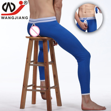 Sexy Long Johns Wangjiang Men Spandex Leggings Pouch Tights Thermal Underwear Mens Fashion Leggings Open Crotch Long Underwear