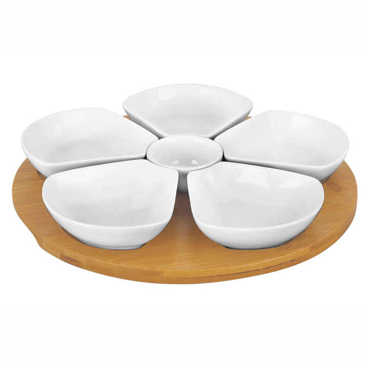 11 Inches Snack Appetizer Trays Set, Dessert Serving Dishes, Snack Platter, 6 pcs Removable