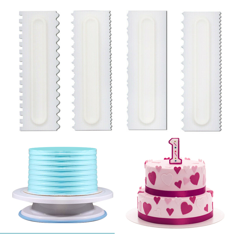 4x//set Dough Scraper Cake Decorating Baking Tools Smooth Jagged Edge Spatulas