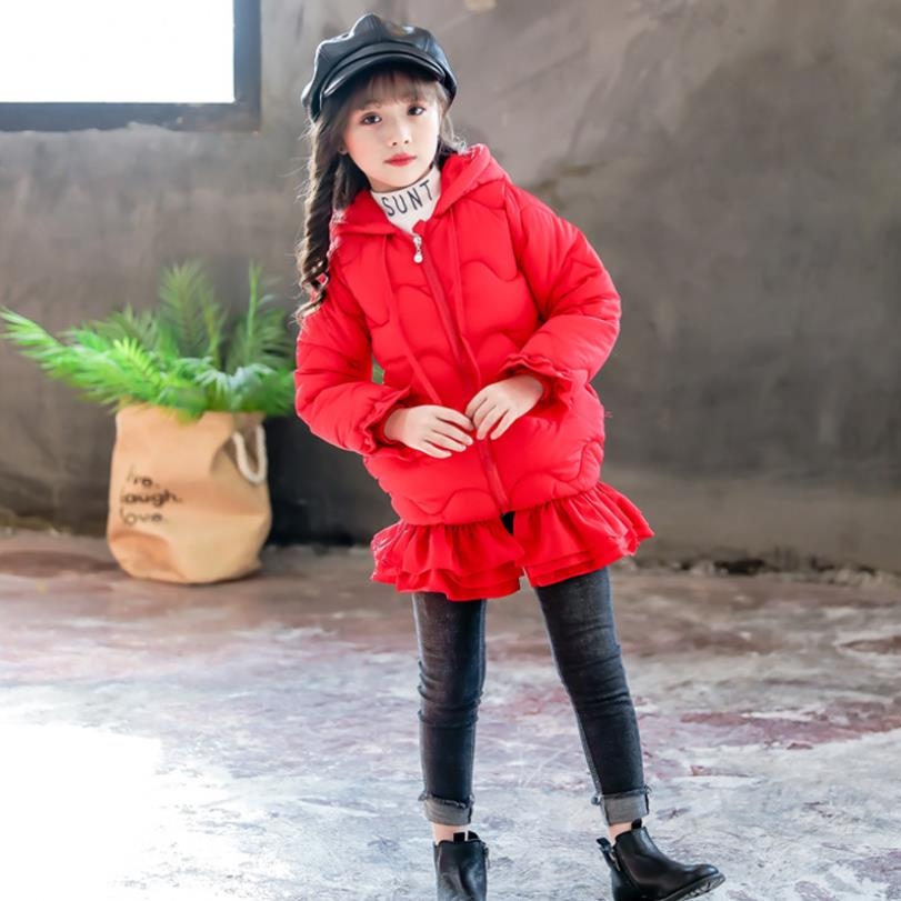 Fashion girls ruffles long cotton coats winter thicker warm parkas jackets baby children 4-12Y ig bow outerwear ws17Fashion girls ruffles long cotton coats winter thicker warm parkas jackets baby children 4-12Y ig bow outerwear ws17