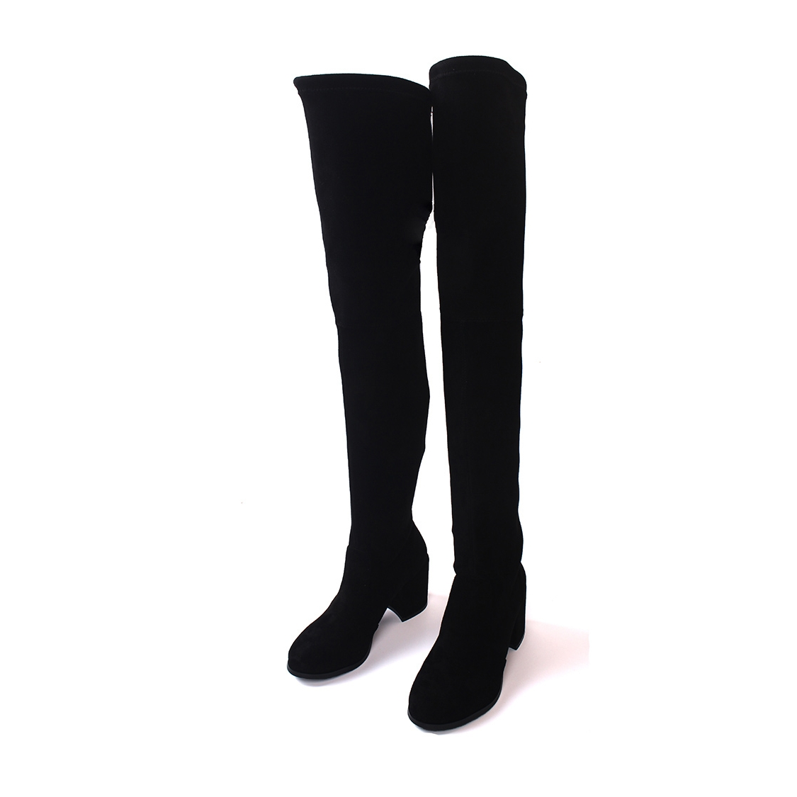 New Arrival Fashion Over The Knee Boots Women Casual Kid Suede Square Heels Round Toe Vintage Style Long Boots Shoes CN-A0000 hot sale new arrival black red full grain leather zip fashion women boots round toe square heels over the knee shoes woman ab888