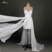 RSW790 Real Sample Sexy Spaghetti Straps Beach Lace Bohemian Wedding Dresses High Slit Chiffon Vestido De Noiva Boho