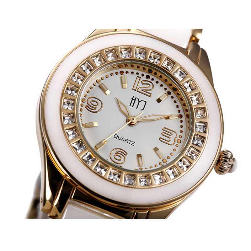 Top Brand Ladies Women Rhinestone Watches Rose Gold Fashion Michaeles Watch HYJ Quartz Clock Montre Femme