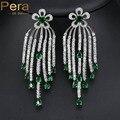 Romantic Nigerian Women Cubic Zirconia Costume Jewelry Big Green Stone Long Tassel Drop Earrings With White Gold Plated E163