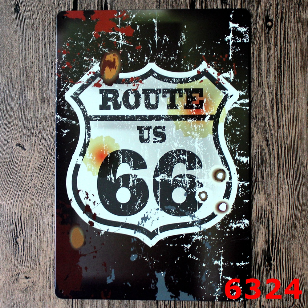 Cool USA No. 66 Route Vintage Metal Sign Metal tin sign Bar Wall art craft metal art Plaques for decorating house 20x30cm