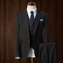 Custom Made men Suits wool blended Blue red black Groom suits Tuxedos fashion men's Wedding Suits (Jacket+Pants+vest)