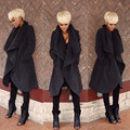 2017 Womne abrigo de Invierno abrigos largos de lana ocasional trench coat mujeres chaquetas chaquetas manteau femme Mujer Solid Negro