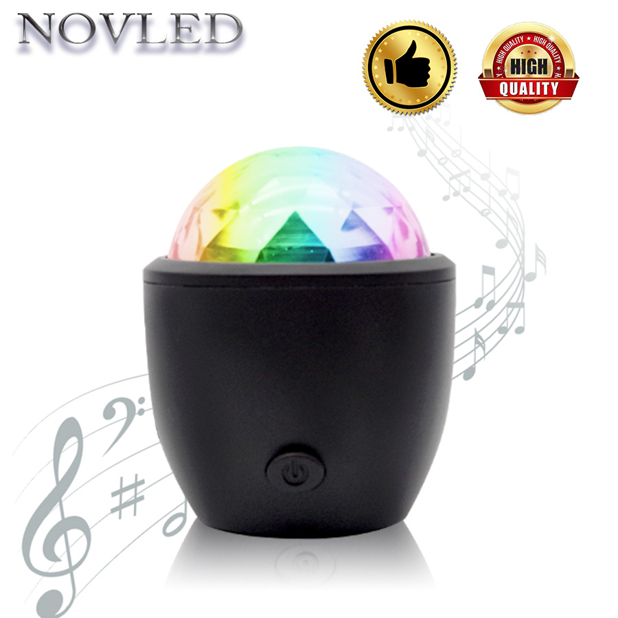 Car Atmosphere LED Light Stage Light USB Sound Control Crystal Magic Ball Effect Lamp Voice-Activated Laser Projector DJ Club new d19 sound activated 5w 48 led rgb crystal magic sunflower light white