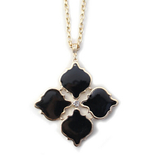 New Design Fashion Brand Drops Of Glaze Pink And Black Flower Long Chain Necklace Charm Jewelry Wholesale