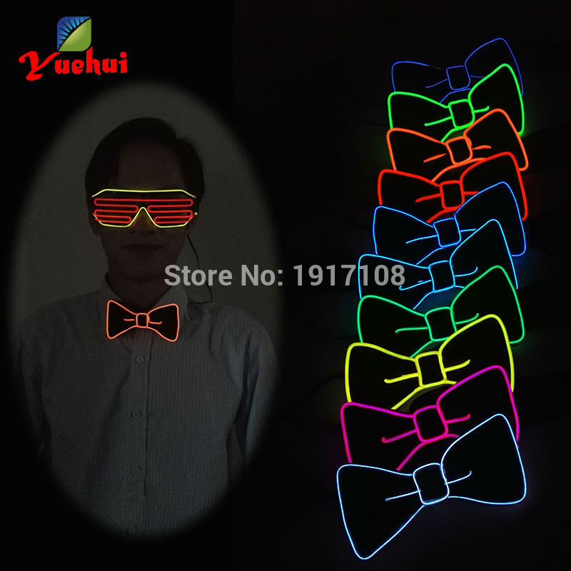 New arrival DC-3V Battery Powered 10 Color Optional Light Up EL Bowknot LED Bow tie For Formal Festival Wedding Decoration