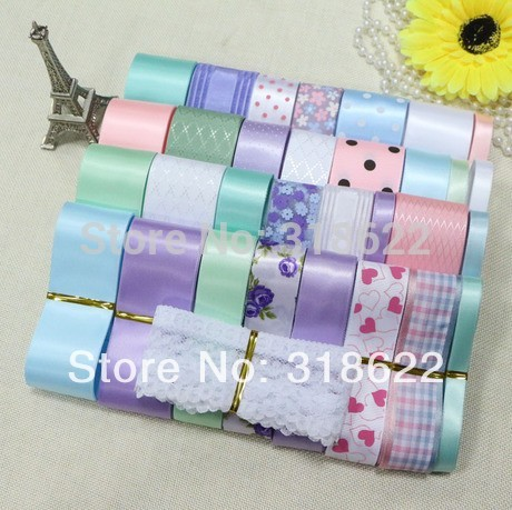 Mixed Ribbon Set,32yards/set,Flower Printed Satin Ribbon,White Lace Fabric,tapes, Ribbons for Decoration,