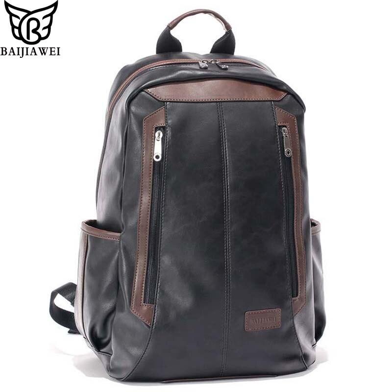 BAIJIAWEI Men's Patent Leather Backpacks Fashion Bag for Men Business Travel Mochila Zip Men Laptop Backpack High School Bags baijiawei fashion design men oil wax leather backpack men s school backpack
