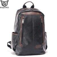BAIJIAWEI Men S Patent Leather Backpacks Fashion Bag For Men Business Travel Mochila Zip Men Laptop