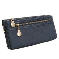 Fashion Women Wallets High Quality Long Dull Polish Retro PU Leather Zipper Wallet Female Clutch Coin